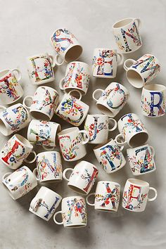 Petal Palette Monogram Mug. Colourful, beautifully decorated and personalised, these mugs tick all the boxes. Never get confused over who's mug is who's again.