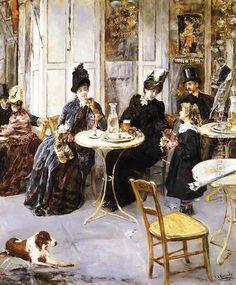 A Parisian Cafe Oil Painting - Eduardo Leon Garrido