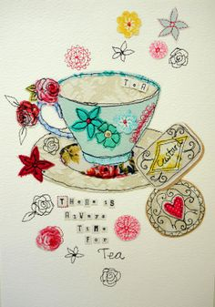 Giclee Print limited edition- Time for Tea (& Biscuits) on Etsy, Tea Cup Art, My Cup Of Tea, Tea Cups, Freehand Machine Embroidery, Free Motion Embroidery, Embroidery Applique, Tea Biscuits, Cuppa Tea, Illustration