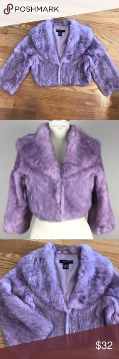 Arden B. Lavender Cropped Fur Jacket 100% rabbit fur coat from Arden B. Size small. Beautiful lavender color with cropped proportion and sleeve, hidden hook & eye closure & paisley satin lining. Like new condition. Arden B Jackets & Coats