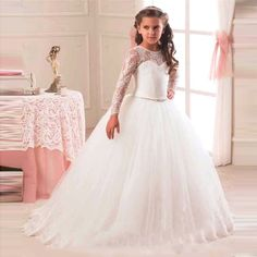 ==> [Free Shipping] Buy Best 2016 Princess Little Flower Girl Dresses Pageant Kid Formal Gown Wear A Line Sash White Tulle Long Illusion Sleeve Cheap Online with LOWEST Price | 32711588104