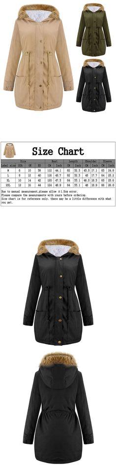 Coats and Jackets 63862: Women Winter Long Sleeve Faux Fur Hooded Slim Jacket Coat Parka Outwear Overcoat -> BUY IT NOW ONLY: $30.39 on eBay!