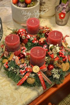 Christmas Advent Wreath, Handmade Christmas Decorations, Christmas Crafts, Christmas Tablescapes, Christmas Candles, Christmas Centerpieces, Christmas Makes, Christmas Holidays, Winter Wonderland Christmas