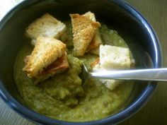 Grilled Cheese Croutons (shown here on split pea soup); it would be very easy to make a grilled cheese sandwich and dice it