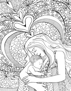 beautiful birth coloring page for preparing for childbirth