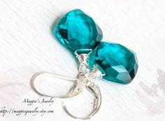 Teal Quartz Earrings, Deep Aquamarine Blue, Caribbean Blue, Sterling Silver, Paraiba Blue Quartz on Etsy, $44.00