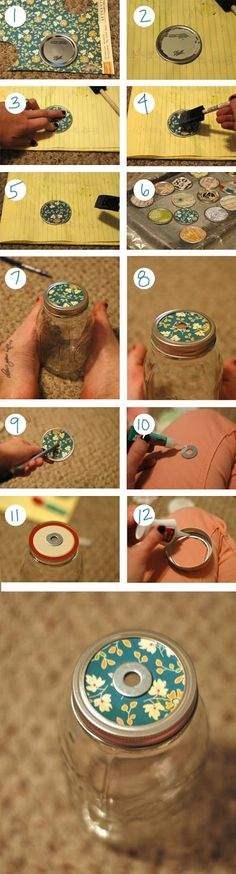MASON JAR TO-GO CUP-  Need: scissors, pen, mod podge, pliers, power drill with 3/8 bit, mason jar, 5/16 washers, straw, scrapbook paper, super glue, knife sharpener