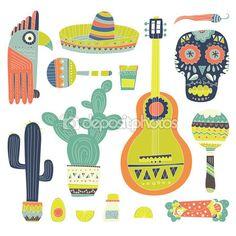Conjunto dibujado a mano de los símbolos mexicanos — Vector de stock © Favetelinguis199 #69190609