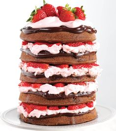 YUM! Find the delicious strawberry cake recipe at @joannstores | Naked Chocolate Covered Strawberry Cake Recipe