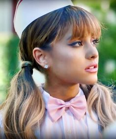 Ariana Grande Wavy Medium Brown Ombré, Pigtails, Straight Bangs Hairstyle | Steal Her Style