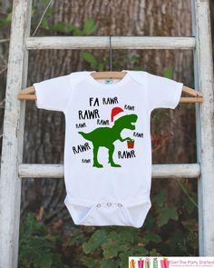 Dinosaur Christmas Onepiece - Boys Christmas Outfit - T.Rex Christmas Bodysuit - Christmas Shirt - Boy Dino Fa Rawr Outfit Tyrannosaurus Rex