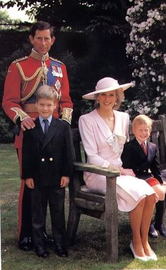Royal family portrait.  Princess Diana,  Prince William  Prince Harry, Prince Charles