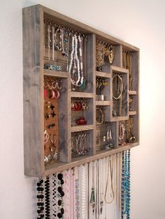 Jewelry Organizer Display Case Wood Wall Art
