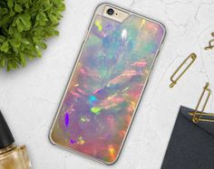 Opal iPhone Case 7 Crystal iPhone 6S Case Holographic Print iPhone 6 Case Opal Samsung Galaxy S6 Case, Crystal Print Galaxy S7 Iridescent