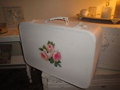 VINTAGE Shabby Chic Suitcase Luggage ROSES...Great Photo Prop. $38.00, via Etsy.
