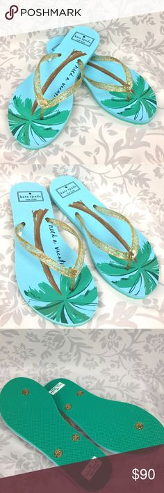 "Kate Spade NEW I Need a Vacation blue flip flops 8 ""I Need A Vacation"" is good for all year fun with palm tree graphics and gold sparkly straps. Gold spade logo accent at the toe straps.   Brand new without tags or box.  May have minor marks from trying on.   Be sure to check out the matching tote also available in my store! kate spade Shoes Sandals"