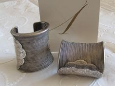 Antique Pair of Heavy Silver Braided Wire Cuffs from Thailand eBay