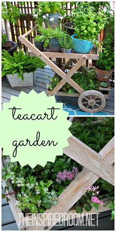 Come see this sweet teacart garden and updates to refinish a deck.