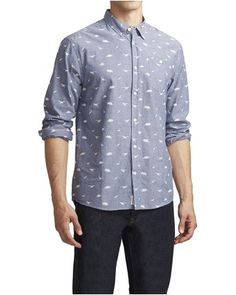 New Artistry In Motion Slim Fit Surfboard Print Button Down Shirt Size Medium