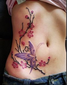 Pretty 3D Blossoms And Butterfly Tattoos On Belly