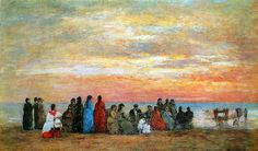 Figures on the Beach of Trouville - Eugene Boudin 1885