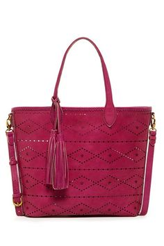 Isabella Fiore Aurora Tote by Isabella Fiore on @HauteLook -- Pink Leather with Great Laser Cut Design with tassel accent tote bag
