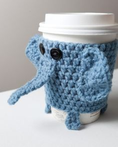Inspiration - Crocheted Cuddly Elephant Coffee Cup Cozy by doris