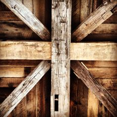 Ceiling detail using reclaimed timbers. Work done by Big-D Signature. Timber Posts, Timber Ceiling, Garage Room, Ceiling Detail, Reclaimed Timber, Post And Beam, Cabin Plans, House Colors, Interior And Exterior