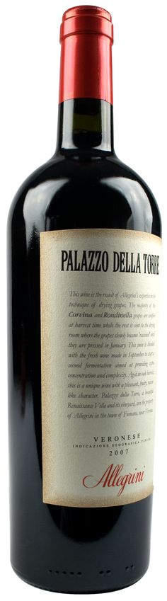 Allegrini Palazzo della Torre 2008 ~ Red Wine from Veneto, Italy ~ smooth profile, top 100 Wine Spectator wines 2011 ~ Palazzo della Torre has a particular structure and aromatic qualities, combined with an elegant and harmonious personality. A complex wine with pleasant raisin nuances and a lengthy, lingering finish. This wine has an aging potential of 8-10 years. Pairs well with a wide range of Italian cuisine, such as pasta and risottos made with full flavored, spicy sauces, & roasted…