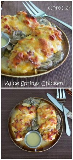 Outback Alice Springs Chicken Copycat Recipe - the chicken, the cheese and the BACON! Outback