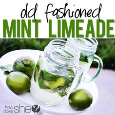 Food and Drink. Old Fashioned Mint Limeade! All it takes is some freshly squeezed lime juice, chopped limes, fresh mint, sugar, and shake! Click for the full recipe!