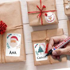 Pegatinas: Kit etiquetas Papá Noel Kit, Gift Wrapping, Christmas Window Display, Holiday Gifts, Snowflakes, Stickers, Report Cards, Creativity, Papa Noel