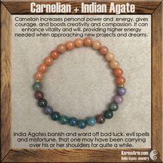PERSONAL POWER: Indian Agate + Carnelian Yoga Mala Bead Bracelet