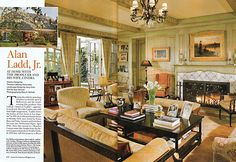 For hollywood producer alan ladd, jr., and his wife, cindra, thomas callawa Beverly Hills Houses, Design Salon, Low Tables, Celebrity Houses, Home Interior Design, Interior Decorating, Decorating Ideas, Architectural Digest, Traditional House