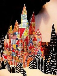 3-d paper villages - connect to color, elements of art, art styles- klee, c.c. connection to 1st grade homes we live in/ 5th grade treehouses?