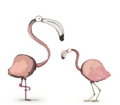 Flamingos by Martina Binosi, via Behance