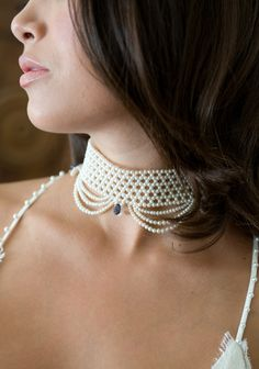 """white pearl woven choker with """"drapes"""", by Marina J"""