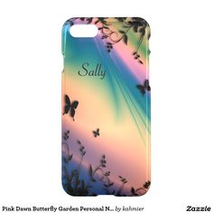 Pink Dawn Butterfly Garden Personal Name iPhone 7 Case