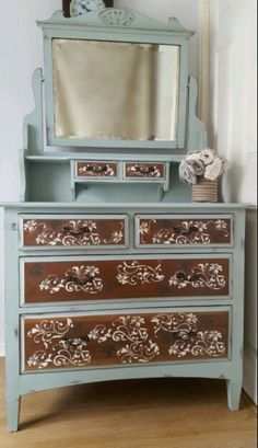 Edwardian Dressing Table painted in Annie Sloan mix if Duck Egg Blue Provence and Old White,stencil pattern on drawers. Annie Sloan Furniture, Chalk Paint Furniture, Hand Painted Furniture, Distressed Furniture, Refurbished Furniture, Repurposed Furniture, Furniture Update, Furniture Projects, Furniture Makeover
