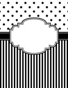 Free printable black and white polka dot and stripe binder cover template. Download the cover in JPG or PDF format at http://bindercovers.net/download/black-and-white-polka-dot-and-stripe-binder-cover/