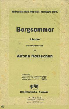 BERGSOMMER - LÄNDLER - ALFONS HOLZSCHUH - FÜR 2 HANDHARMONIKAS | eBay