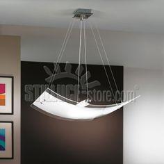 Linealight Mille lampada a sospensione, montatura in metallo con finitura in nichel spazzolato. Diffusore in vetro curvo lucido trasparente serigrafato.
