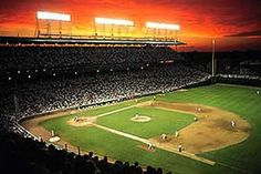 Sunset over Wrigley Field Action