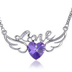 Angel Wings Kjærlighet hjerte krystall anheng halskjede – NOK kr. 36