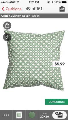 H&m green cushion
