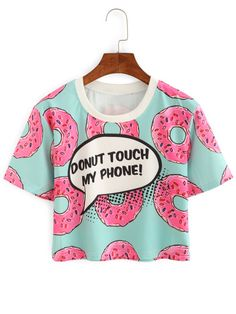 Women Contrast Crew Neck Donuts Print Crop Tops Summer Style Cute New Casual Ladies Tees Short Sleeve T-shirt Crop Top Et Short, Short Tops, T-shirt Crop, Crop Shirt, Summer Crop Tops, Cute Crop Tops, Crop Tops For Kids, Crop Top Outfits, Crop Top And Shorts