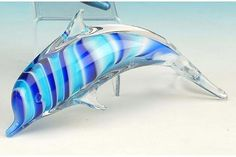 Glass Dolphin Collectible Blue Decoration Figure
