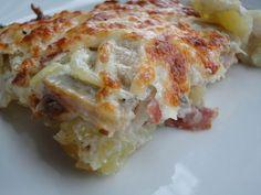 Pastel de patatas a la carbonara. Ver la receta http://www.mis-recetas.org/recetas/show/39392-pastel-de-patatas-a-la-carbonara