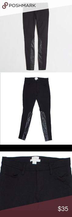 """JCREW Black GiGi Jodhpur Black Skinny Pants Excellent condition! These black leggings/skinny pants from JCREW feature a zip tab closure, black faux leather on the interior of the legs. Style is called the Gigi Jodhpur Pant. Made of a viscose/nylon/spandex blend. Measures: waist: 27"""", rise: 7.5"""", hips: 33"""", inseam: 28"""" J. Crew Pants Skinny"""