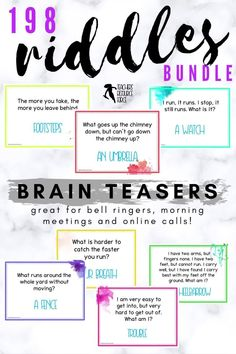 198 Riddles Bell Ringers / Lesson Starters / Morning Meeting - Riddles Bundle. Are you looking for some gripping ways to settle your students really quickly at the start of your lesson? Here are 198 of the best riddles out there that you can use as bell ringers / lesson starter activities for teens! #riddles #bellringers #riddlesforteens Brain Teasers Riddles, Brain Teasers With Answers, Activities For Teens, Time Activities, I Am Statements, Secondary Teacher, Bell Ringers, Guidance Lessons, Classroom Community